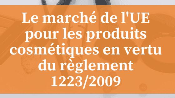 Marché de l'UE pour les produits cosmétiques en vertu du règlement de l'UE 1223/2009