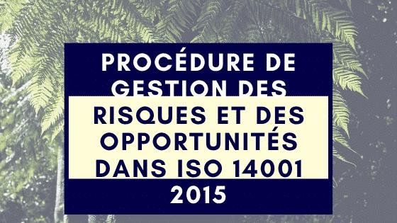 Procédure de gestion des risques et des opportunités dans ISO 14001 2015